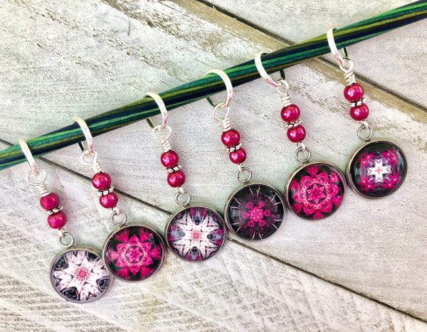 Raspberry Medallion Stitch Markers for Knitting or Crochet | Gift for Knitters | Choose Rings or Clasps | Mandala