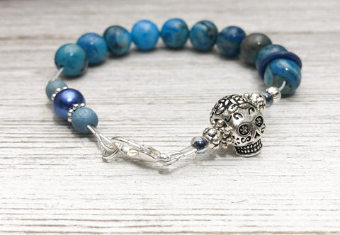 Skull Abacus Counting Bracelet with Blue Agate Beads | Row Counter Jewelry | Knitting or Crochet Gift