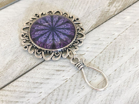 Purple Flower Portuguese Knitting Pin with Matching Stitch Markers, Magnetic Brooch, Fractal