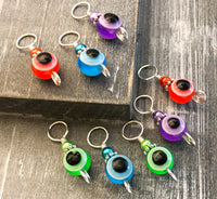 Evil Eye Stitch Markers for Knitting, Tarnish Resistant Wire