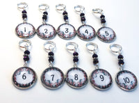 Stitch Markers with Numbers for Knitting or Crochet, Floral Set of 10 or 20