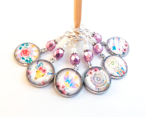 Cute Bohemian Stitch Markers for Knitting or Crochet, Gifts for Knitter, Boho Dreamcatcher