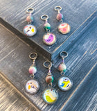6-20 Bird Stitch Markers for Knitting, Choose Snag Free Rings or Clasps