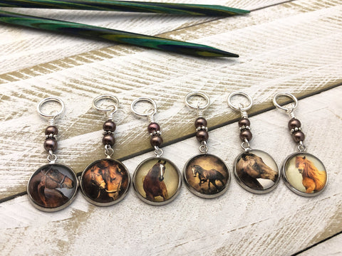 Rustic Horses Stitch Marker Set for Knitting or Crochet