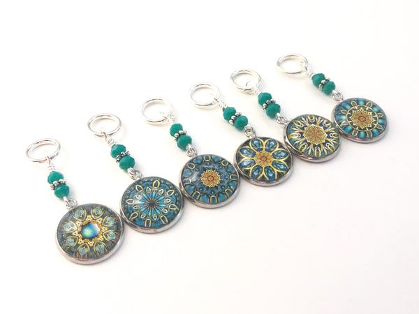 Boho Mandala Stitch Markers for Knitting or Crochet Sets of 6-20