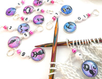 10-20 Number Stitch Markers for Knitting, Black Cat Progress Keepers