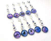 Number Stitch Markers for Knitting or Crochet, Bird Silhouettes, Set of 10 or 20