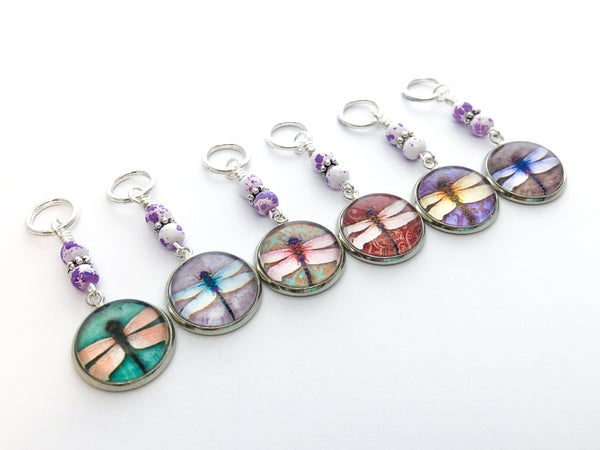 3-20 Dragonfly Knitting Stitch Markers, Crochet Stitch Marker Option