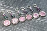 Mauve Mandala Stitch Markers for Knitting, Crochet Stitch Marker Option, Sets of 6-20