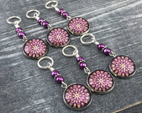 Plum Medallion Stitch Markers for Knitting or Crochet