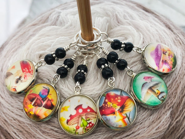 Mushroom Stitch Markers for Knitting or Crochet, Sets of 3 -20 in 4 Sizes & Crochet