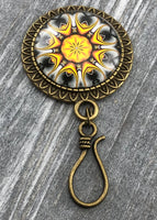 Saffron Mandala Magnetic Knitting Pin for Portuguese Knitting with Stitch Marker Option