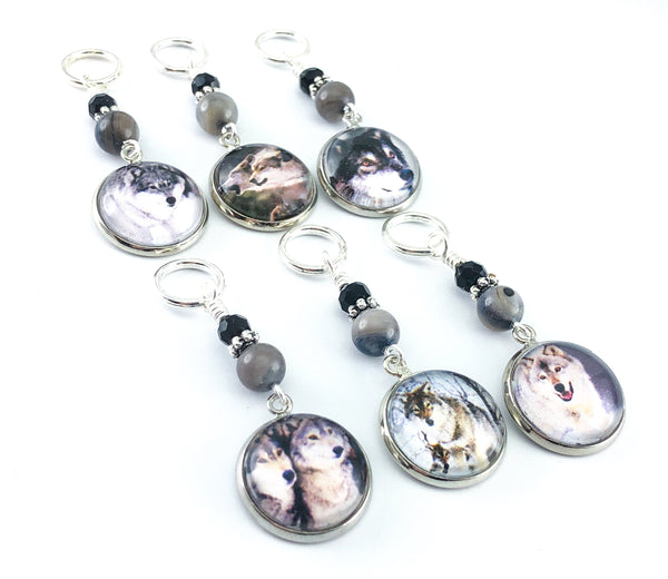 Wolf Stitch Markers for Knitting, Crochet Stitch Marker Option