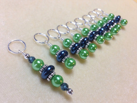 Beaded Stitch Markers - Green Blue Pearl Snag Free Knitting stitch marker set - Tools - Gifts for Knitters - Crochet Markers , Stitch Markers - Jill's Beaded Knit Bits, Jill's Beaded Knit Bits  - 1