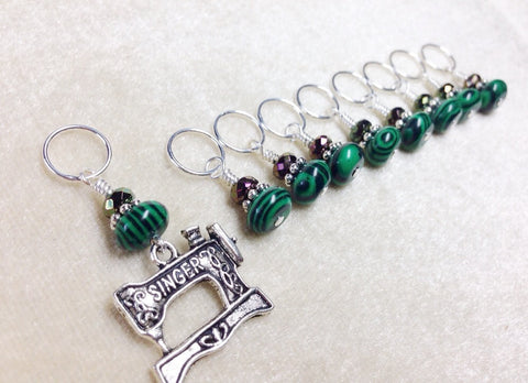 Singer Sewing Machine Stitch Marker Set, Gift for Knitters , Stitch Markers - Jill's Beaded Knit Bits, Jill's Beaded Knit Bits  - 1
