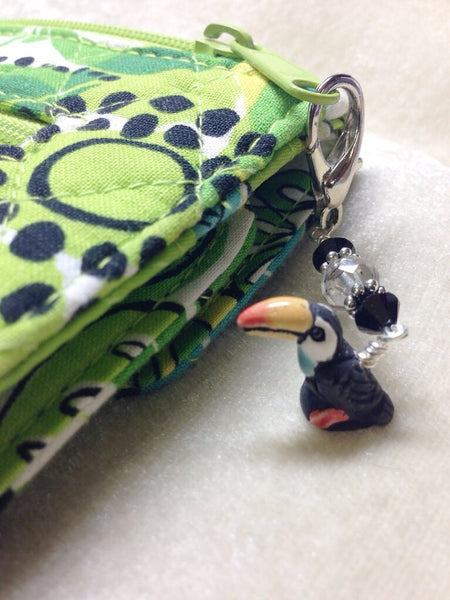 Toucan Beaded Zipper Pull Charm - Key Chain Charm - Crochet Stitch Marker - Bird Jewelry ,  - Jill's Beaded Knit Bits, Jill's Beaded Knit Bits  - 1
