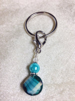 Beaded Zipper Pull Charm - Crochet Stitch Marker- Key Chain - Teal Wallet, or Purse Charm ,  - Jill's Beaded Knit Bits, Jill's Beaded Knit Bits  - 3