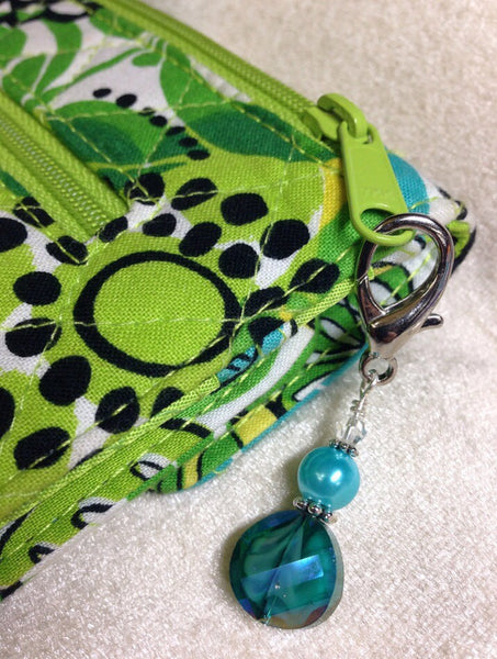Beaded Zipper Pull Charm - Crochet Stitch Marker- Key Chain - Teal Wallet, or Purse Charm ,  - Jill's Beaded Knit Bits, Jill's Beaded Knit Bits  - 1