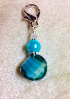 Beaded Zipper Pull Charm - Crochet Stitch Marker- Key Chain - Teal Wallet, or Purse Charm ,  - Jill's Beaded Knit Bits, Jill's Beaded Knit Bits  - 2