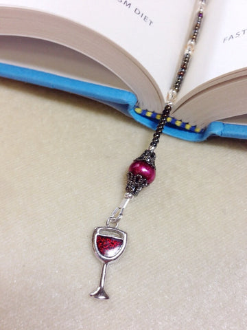 Beaded Wine Glass Bookmark- Book Thong- Gift for Book Lovers- Book Bling- Book Jewelry ,  - Jill's Beaded Knit Bits, Jill's Beaded Knit Bits  - 3