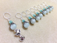 Cat Knittng Stitch Markers-  Snag Free Beaded Kitten stitch marker set- Gifts for Knitters- Crochet Stitch markers- Tools ,  - Jill's Beaded Knit Bits, Jill's Beaded Knit Bits  - 4