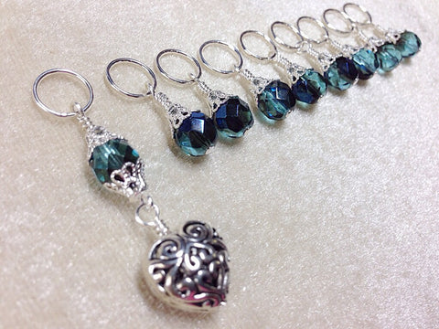 Filigree Heart Beaded Snag Free Stitch Marker Set