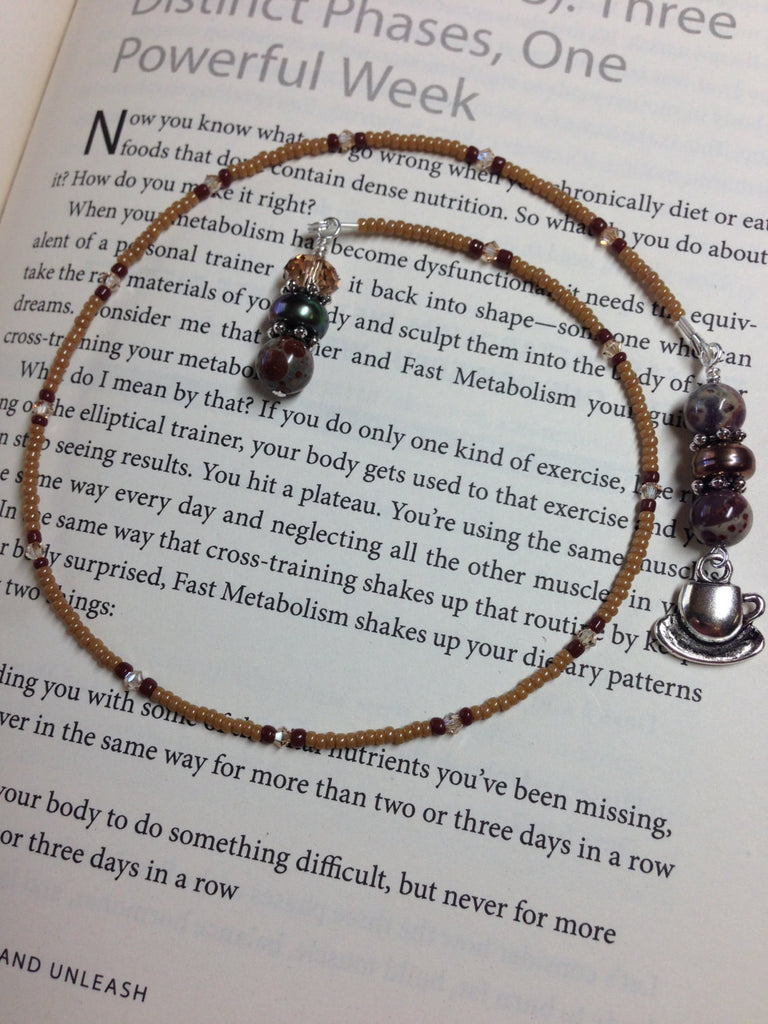 Coffee Cup Beaded Book Marker, Handmade Book Thong, Gift for Readers, Coffee Lovers Bookmark, Book Jewelry ,  - Jill's Beaded Knit Bits, Jill's Beaded Knit Bits  - 1