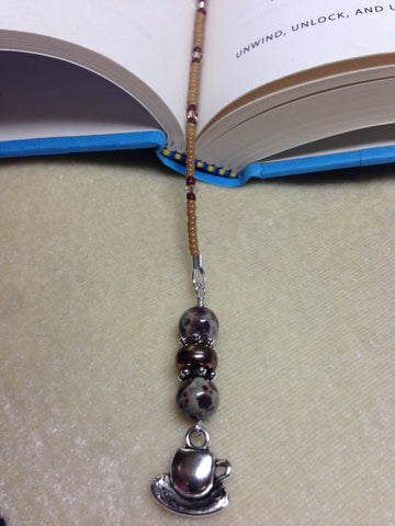 Coffee Cup Beaded Book Marker, Handmade Book Thong, Gift for Readers, Coffee Lovers Bookmark, Book Jewelry ,  - Jill's Beaded Knit Bits, Jill's Beaded Knit Bits  - 2