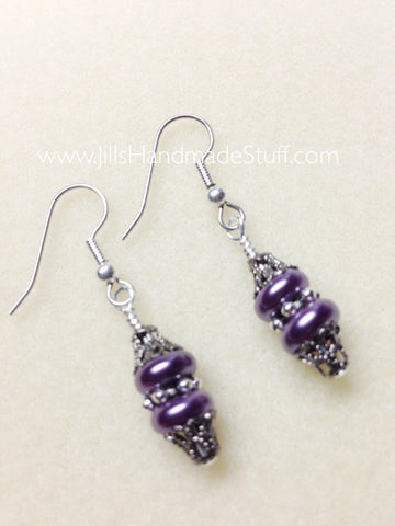 Purple Beaded French Hook Dangle Earrings