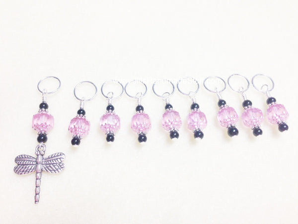 Dragonfly Knitting Stitch Markers- SNAG FREE Beaded Pattern Markers- Pink Set of 9 Yarn markers- Knitting Gift- Tools- Supplies ,  - Jill's Beaded Knit Bits, Jill's Beaded Knit Bits  - 2