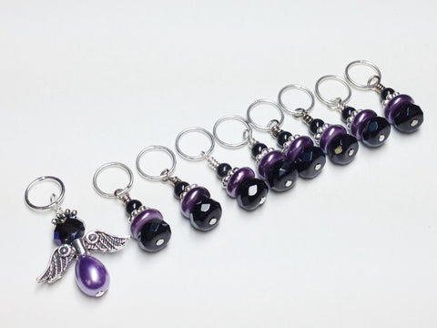 Angel Stitch marker set - Purple Snag Free Knitting Stitch Markers-Gifts for Knitters- Crochet Stitch Markers- Tools ,  - Jill's Beaded Knit Bits, Jill's Beaded Knit Bits  - 2
