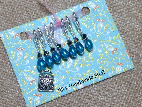 Handbag Removable Stitch Marker Set for Knitting or Crochet , Stitch Markers - Jill's Beaded Knit Bits, Jill's Beaded Knit Bits  - 5