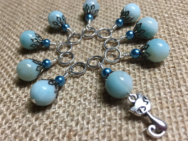 Cat Knittng Stitch Markers-  Snag Free Beaded Kitten stitch marker set- Gifts for Knitters- Crochet Stitch markers- Tools ,  - Jill's Beaded Knit Bits, Jill's Beaded Knit Bits  - 1