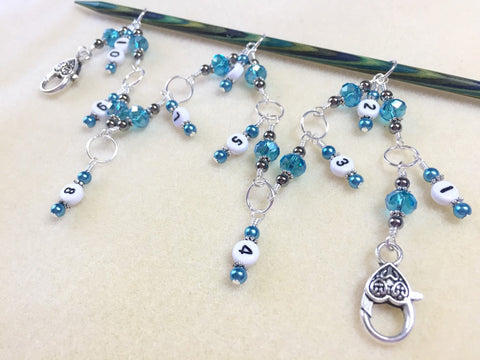 Hanging Chain Style Row Counter- Aqua Blue Beaded Number Stitch Markers- Gift for Knitters- Knitting Tools- Supplies ,  - Jill's Beaded Knit Bits, Jill's Beaded Knit Bits  - 4