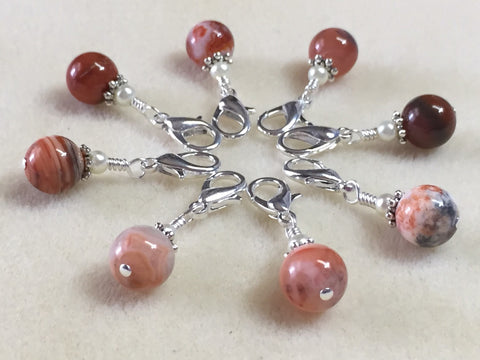 Red Agate Stitch Marker Set - Removable Crochet Markers