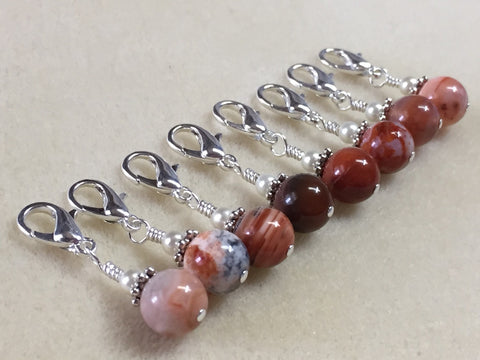 Removable Crochet Stitch Markers- Red Agate Stitch Marker Set - Crochet Tools- Gifts For Crocheter- Knitting Markers ,  - Jill's Beaded Knit Bits, Jill's Beaded Knit Bits  - 3