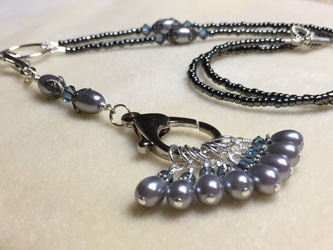 Beaded Stitch Marker Necklace with Snag Free Stitch Markers - Gray