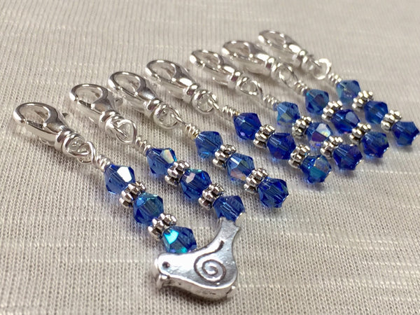 Blue Bird Removable Beaded Stitch Markers- Bird Crochet Stitch Markers- SNAG FREE Knit and Crochet Tools- gift ,  - Jill's Beaded Knit Bits, Jill's Beaded Knit Bits  - 1