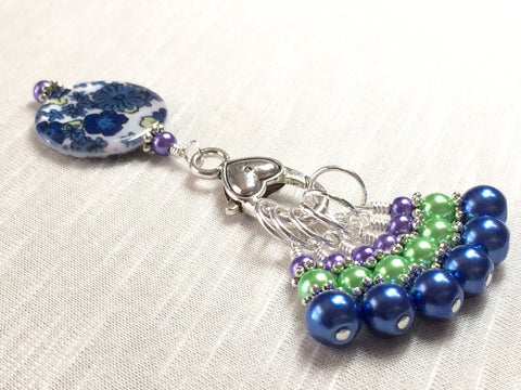 Snag Free Jewel Tone Stitch Markers with Matching Flower Clip Holder Knitting Gift- Tools-organizer ,  - Jill's Beaded Knit Bits, Jill's Beaded Knit Bits  - 1