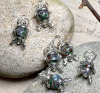 Cute Frog Stitch Markers- 6 Snag Free Green & Brown Beaded Knitting Markers- Gifts for Knitters- Tools- Supplies- Crochet Markers ,  - Jill's Beaded Knit Bits, Jill's Beaded Knit Bits  - 2