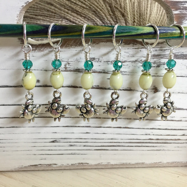 Cute Crabs Stitch Marker Set- Snag Free Knitting Markers , stitch markers - Jill's Beaded Knit Bits, Jill's Beaded Knit Bits  - 1