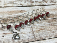 Red Cherry Stitch Marker Set - Gift for Knitters- Snag Free Beaded Knitting Tools- Food Stitch Marker ,  - Jill's Beaded Knit Bits, Jill's Beaded Knit Bits  - 1