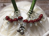 Red Cherry Stitch Marker Set - Gift for Knitters- Snag Free Beaded Knitting Tools- Food Stitch Marker ,  - Jill's Beaded Knit Bits, Jill's Beaded Knit Bits  - 3