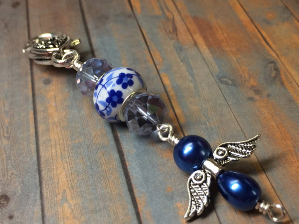 Blue Angel Zipper Pull Charm- Handmade Gifts- Key Chain Charm- Purse Charm- Knitting Progress Keeper ,  - Jill's Beaded Knit Bits, Jill's Beaded Knit Bits  - 1