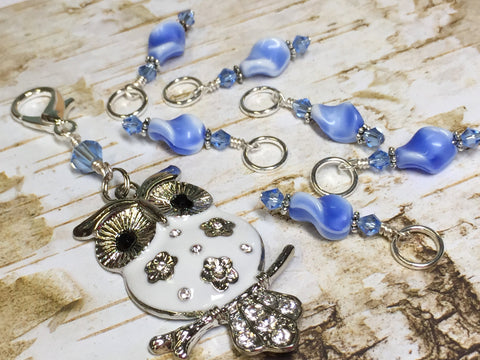 White Owl Stitch Marker Holder & Snag Free Blue Stitch Markers- Knitting Gift- Tools