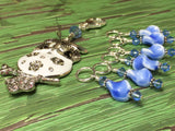 White Owl Stitch Marker Holder & Snag Free Blue Stitch Markers- Knitting Gift- Tools ,  - Jill's Beaded Knit Bits, Jill's Beaded Knit Bits  - 5
