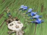 White Owl Stitch Marker Holder & Snag Free Blue Stitch Markers- Knitting Gift- Tools ,  - Jill's Beaded Knit Bits, Jill's Beaded Knit Bits  - 3