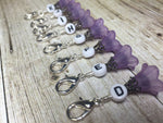 Crochet Letter Stitch Markers With Beaded Holder- Purple Flower Clip on Markers- Crochet Gift- Tools- Removable Stitch Marker Organizer ,  - Jill's Beaded Knit Bits, Jill's Beaded Knit Bits  - 3