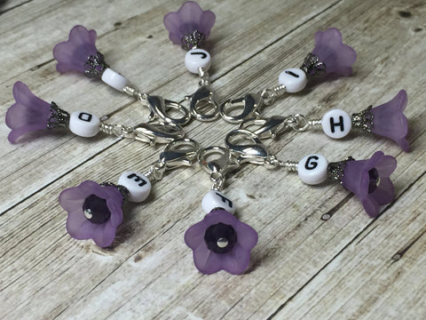 Crochet Letter Stitch Markers With Beaded Holder- Purple Flower Clip on Markers- Crochet Gift- Tools- Removable Stitch Marker Organizer ,  - Jill's Beaded Knit Bits, Jill's Beaded Knit Bits  - 2