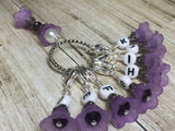 Crochet Letter Stitch Markers With Beaded Holder- Purple Flower Clip on Markers- Crochet Gift- Tools- Removable Stitch Marker Organizer ,  - Jill's Beaded Knit Bits, Jill's Beaded Knit Bits  - 1